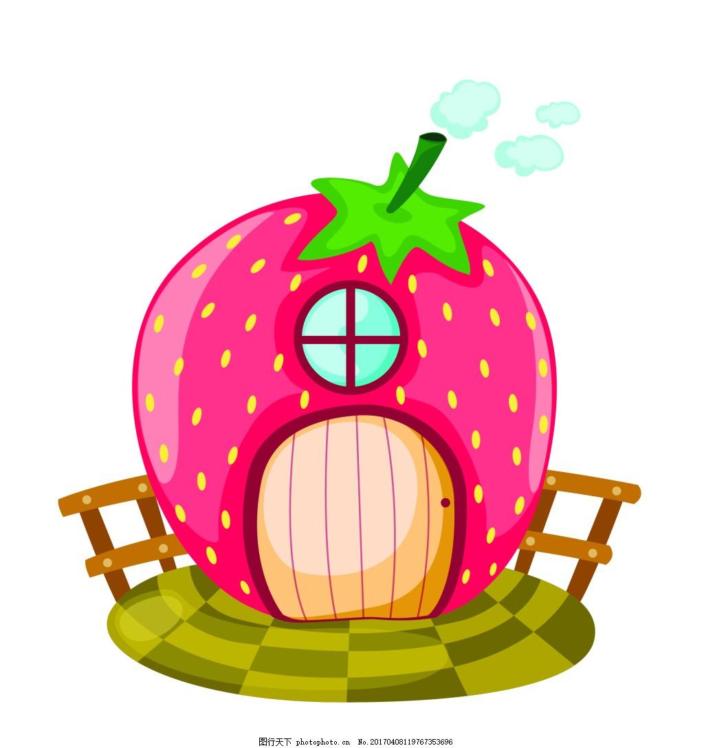 矢量西红柿房子eps 花纹花边 可爱动物 墙贴 墙画 儿童矢量素材 卡通