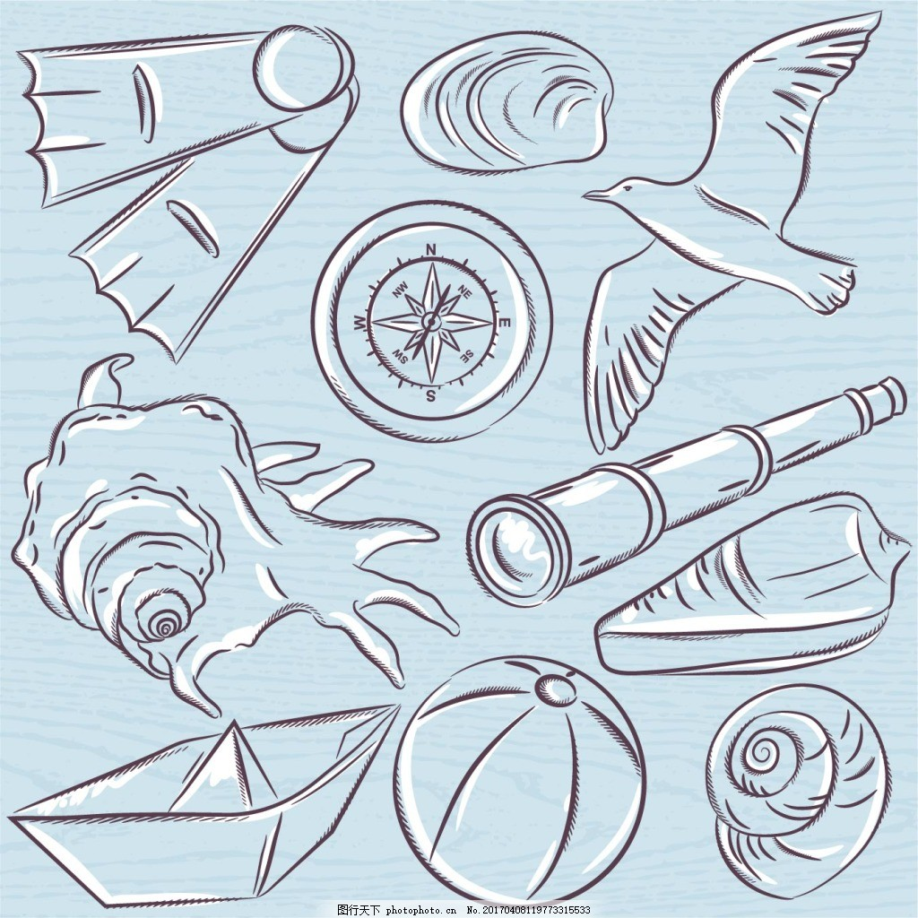 手绘海洋元素图案矢量素材下载 海鸥 贝壳
