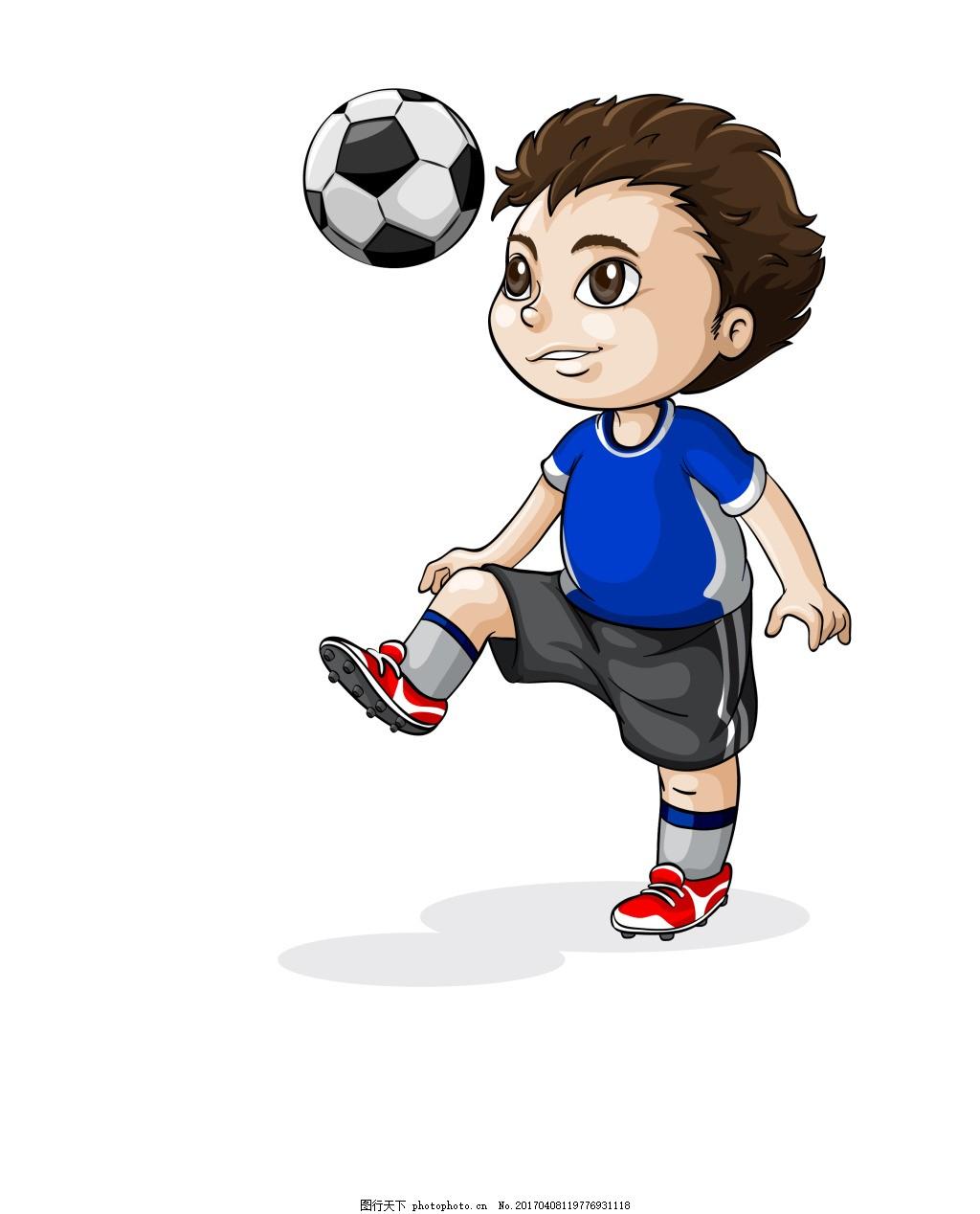 矢量踢足球eps,可爱的卡通儿童人物矢量素材 活泼孩子