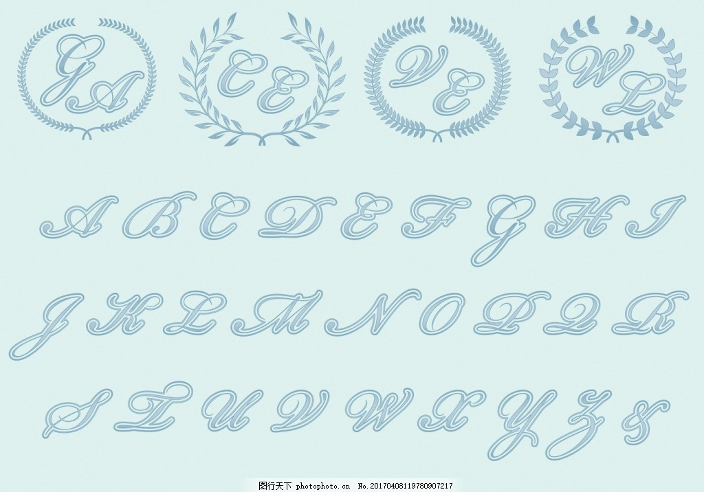 手绘婚礼英文素材 婚庆 矢量素材 字体设计 手绘字体 英文字母