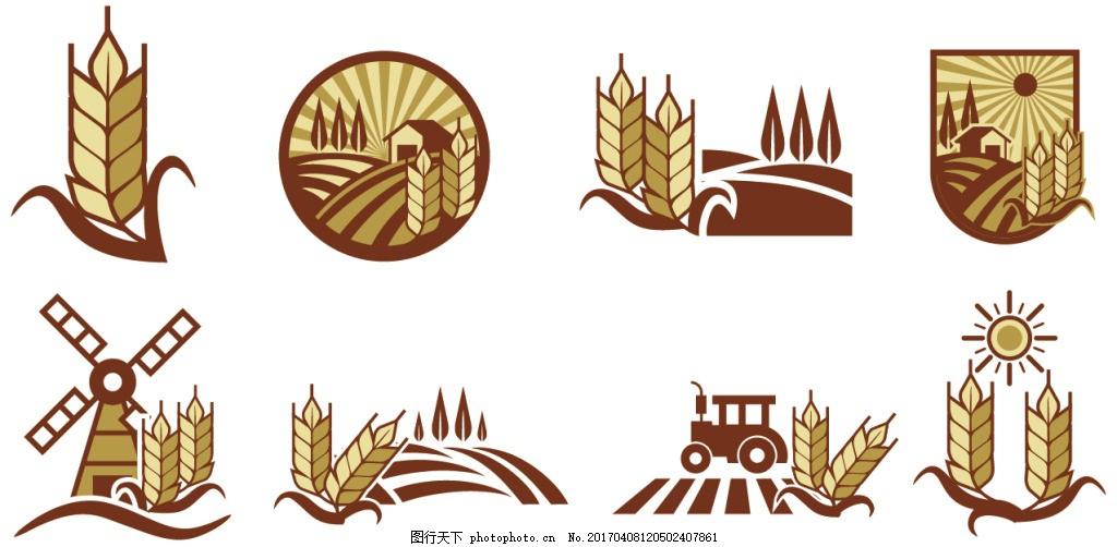 矢量麦穗图标 麦子 矢量素材 手绘植物 手绘麦子 手绘麦穗 稻田