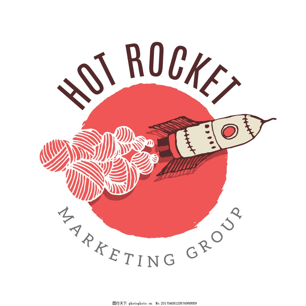 创意手绘火箭企业标志
