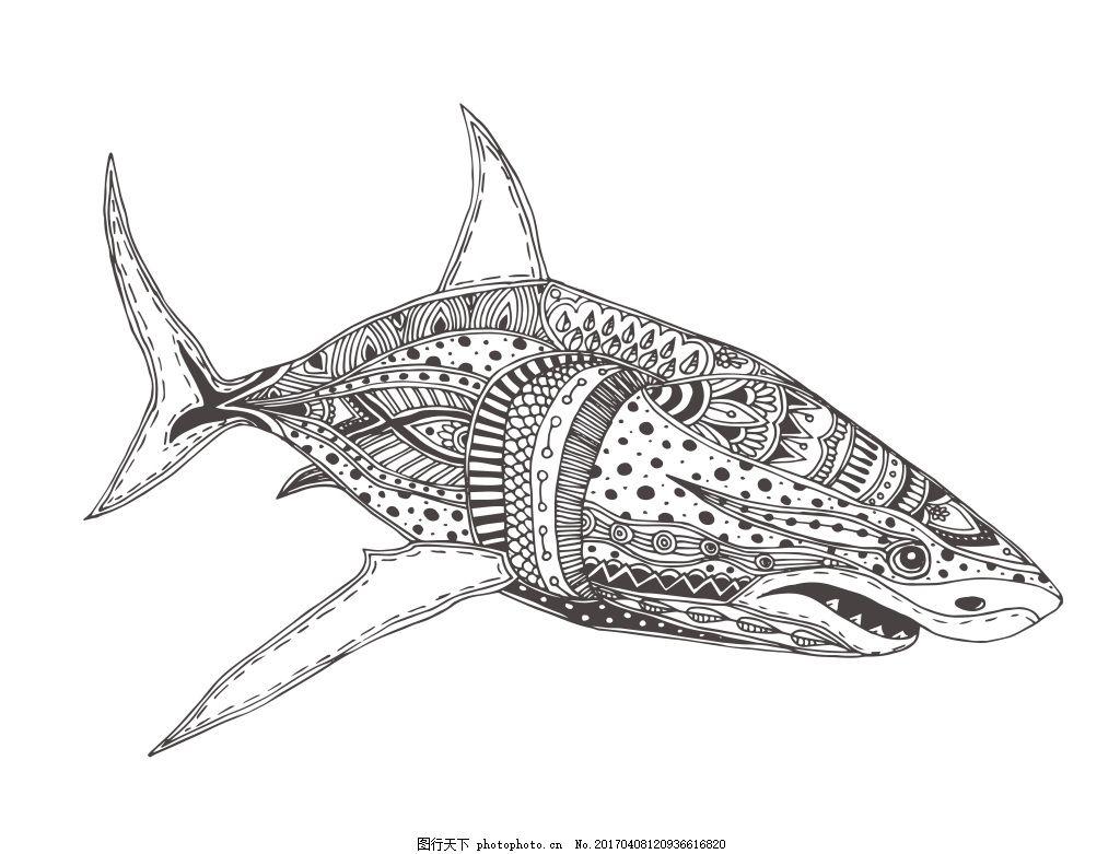 文艺复古线描鱼 线条 创意 图案