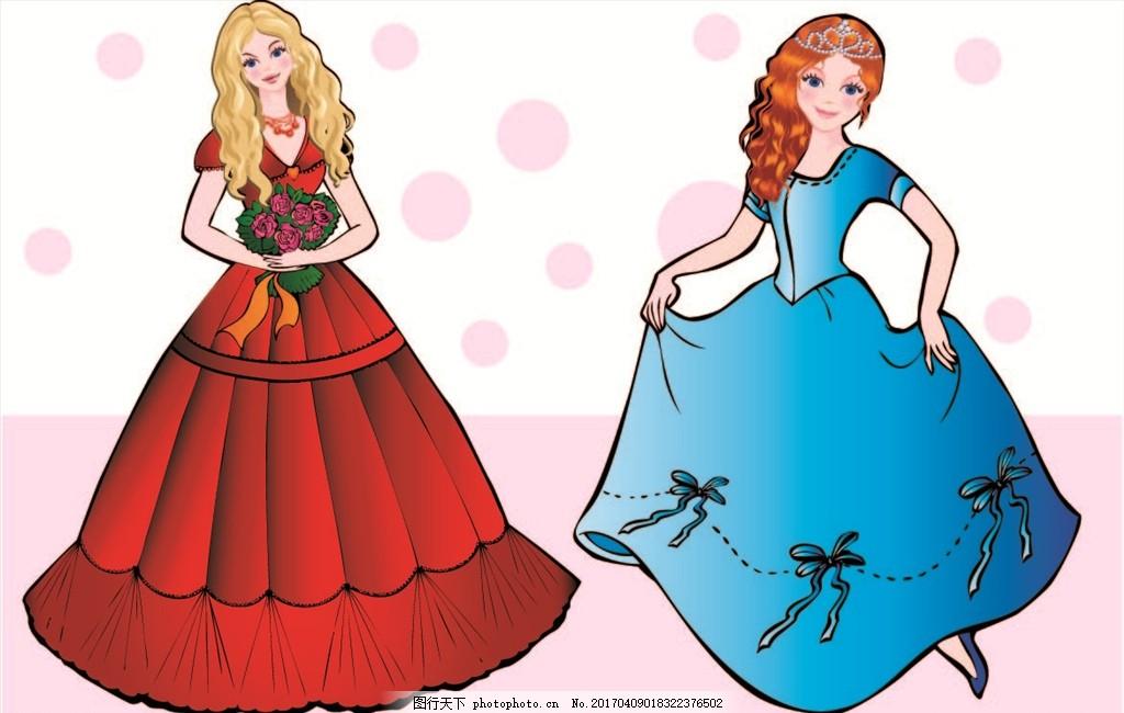 可爱公主 漂亮卡通女孩 童话女孩 矢量素材 漂亮卡通 卡通人物 鲜花