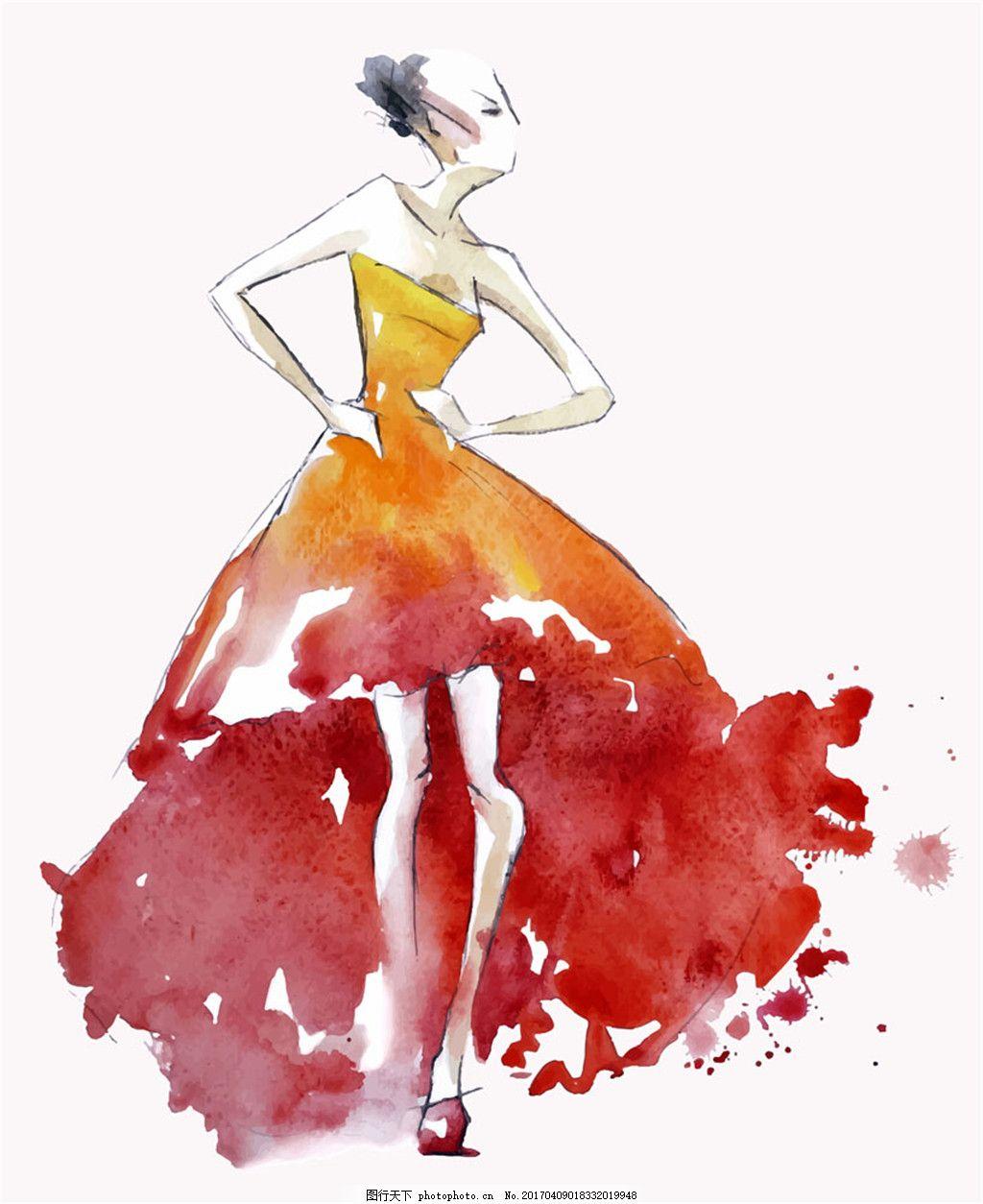 手绘美女插画 水墨美女插画矢量图片 性感美女 礼服 水彩画 卡通美女