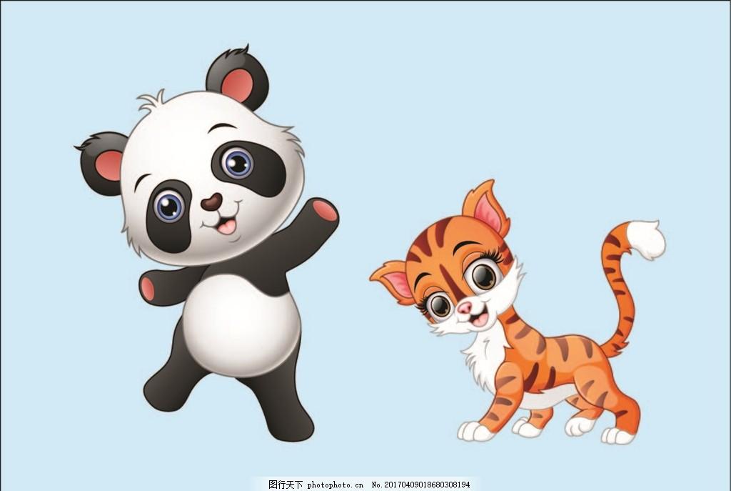 卡通动物素材 漫画 小猫 猫 熊猫 可爱熊猫 失量熊猫 设计 动漫动画