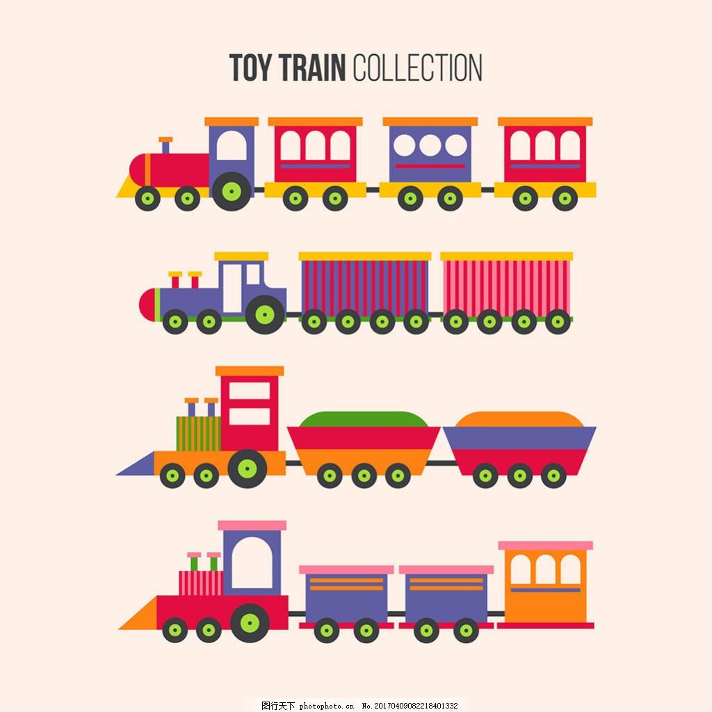 手绘玩具火车插图
