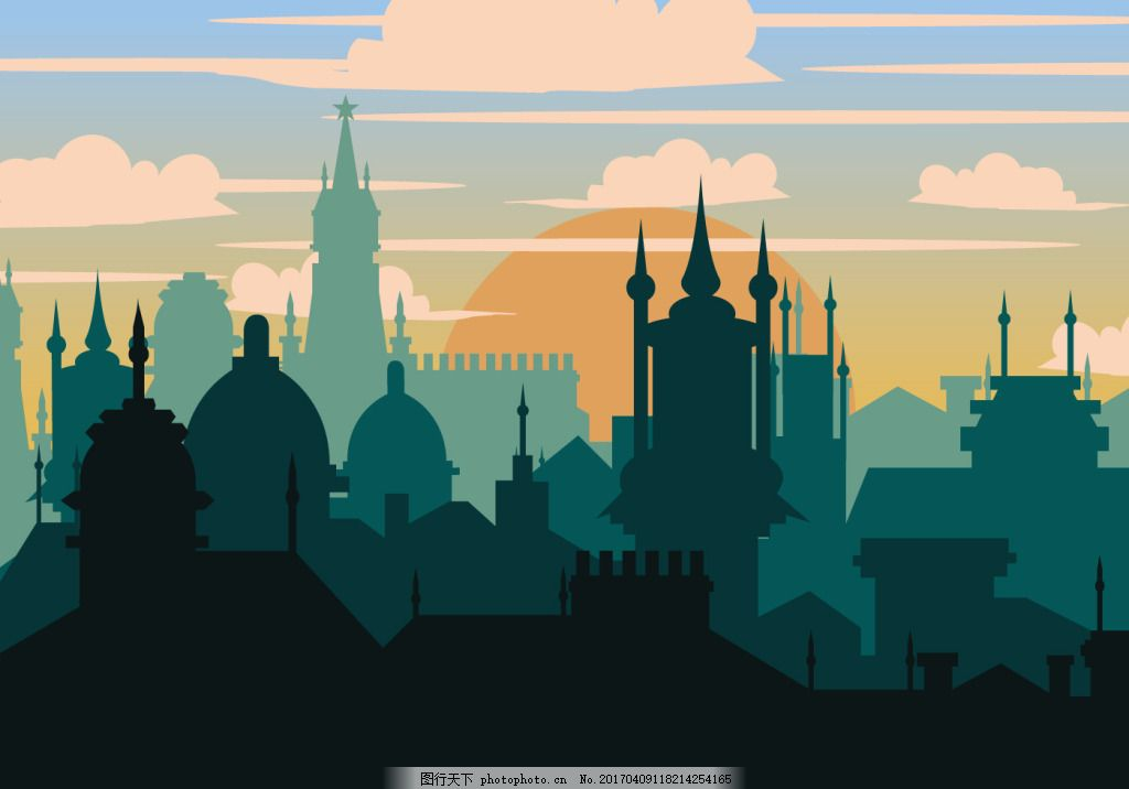 扁平化城市背景素材