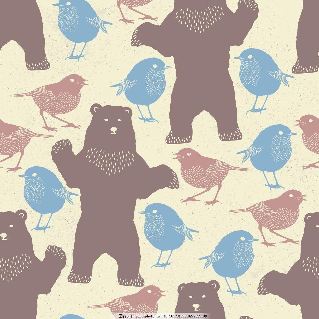 手绘可爱动物背景素材 小清新 矢量素材 花纹背景 手绘动物