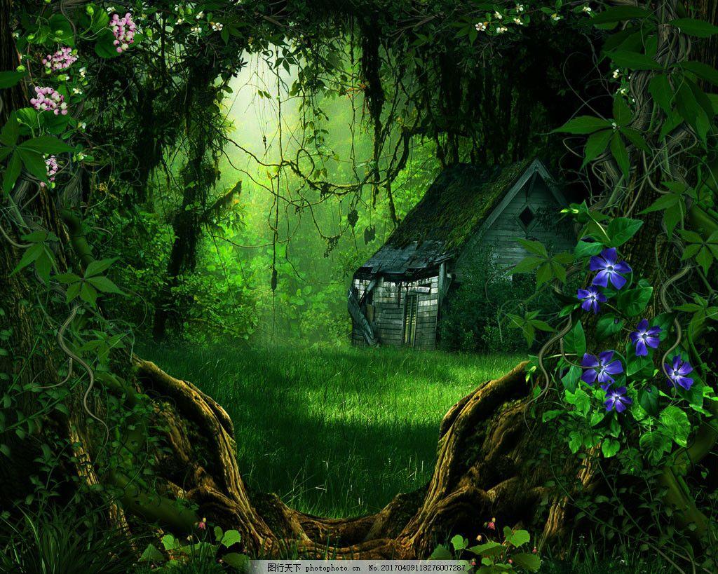 仙境树林花朵背景图片