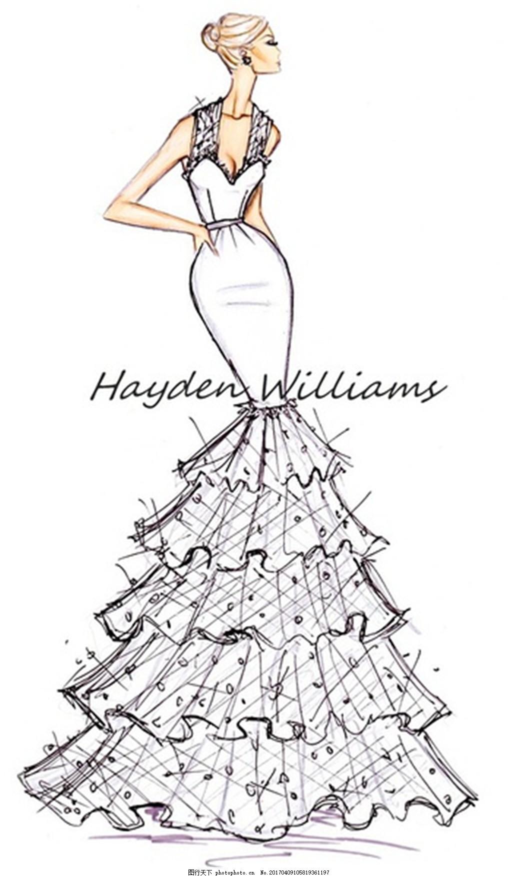 时尚长裙礼服设计线稿 服装设计 时尚女装 职业女装 职业装 女装设计