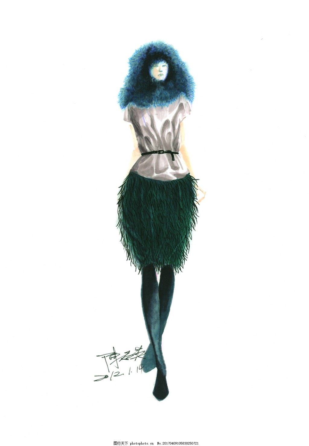 设计图库 现代科技 服装设计  时尚女装设计手绘图 服装设计 时尚女装