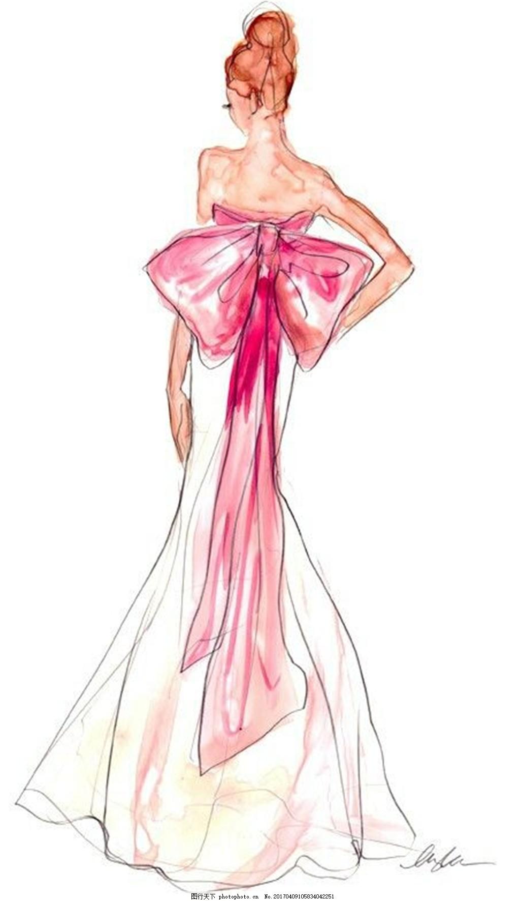 蝴蝶结抹胸长裙设计图 服装设计 时尚女装 职业女装 职业装 女装设计