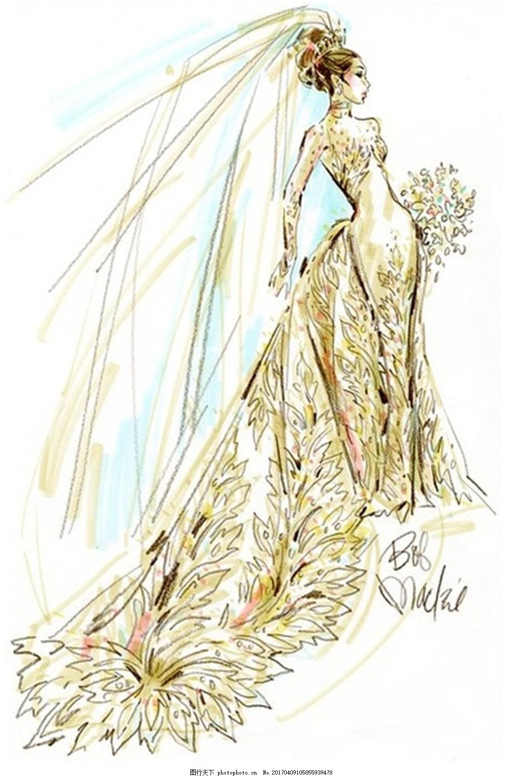 金色婚纱长裙设计图