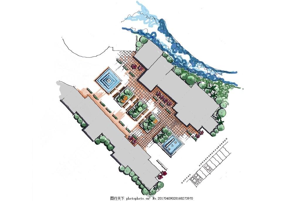 商业街手绘平面 手绘 商业街 平面 绿化 彩色 设计 环境设计 景观设计