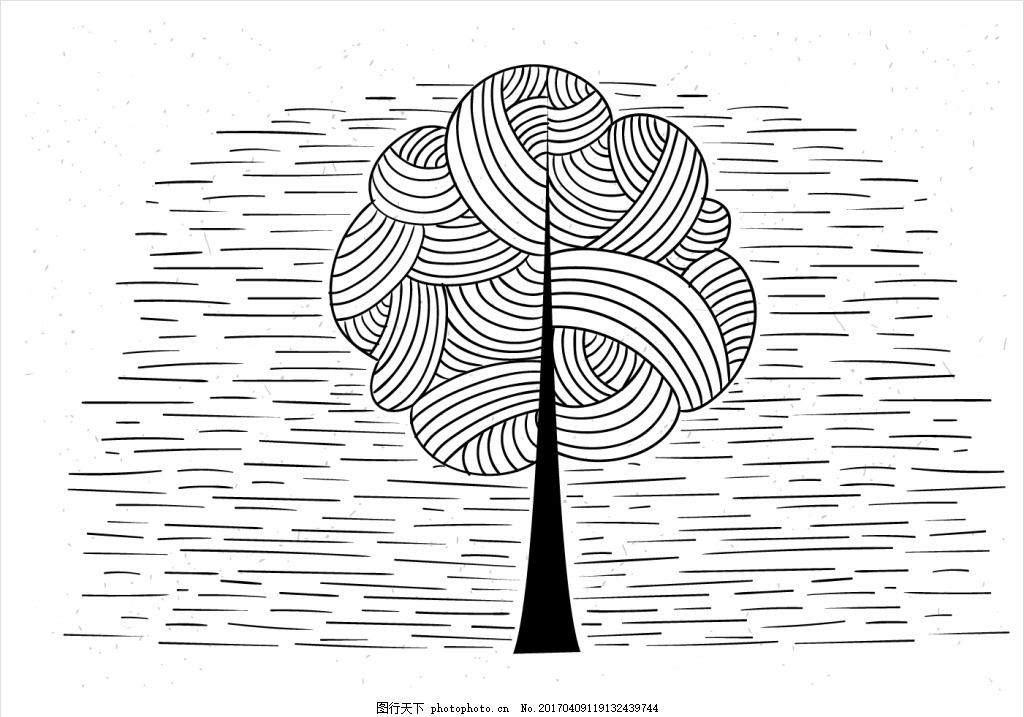 创意手绘树木插画