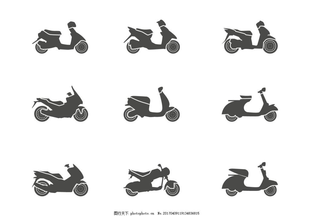 扁平矢量摩托车 扁平摩托车 车辆 手绘摩托车 摩托车剪影 矢量素材