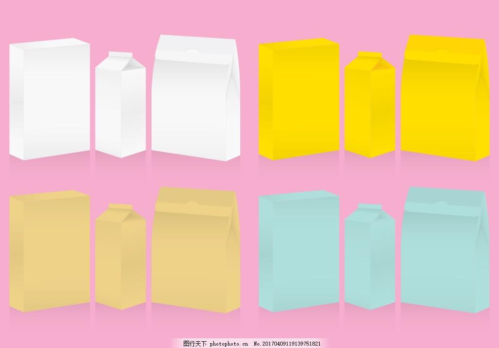 矢量牛奶盒 矢量食物 手绘食物 手绘美食 矢量素材 包装 盒子
