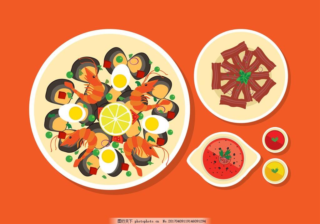 扁平化手绘韩国美食插画 食物 手绘食物 矢量素材 扁平化食物 手绘