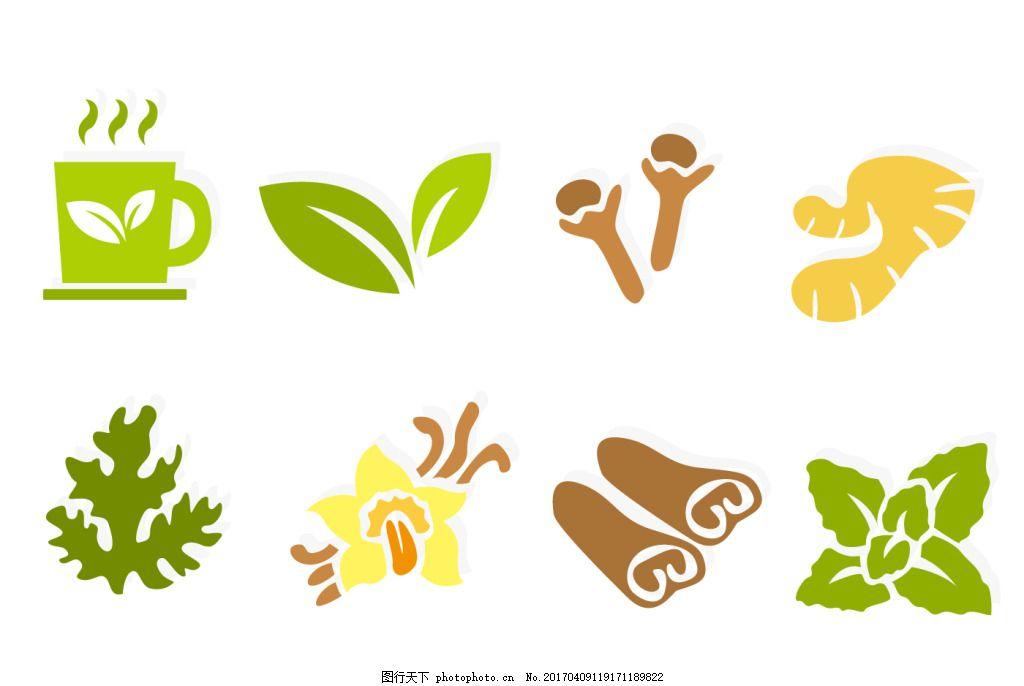 茶叶 手绘茶叶 手绘植物 手绘树叶 手绘叶子 矢量素材 杯子 茶杯 姜