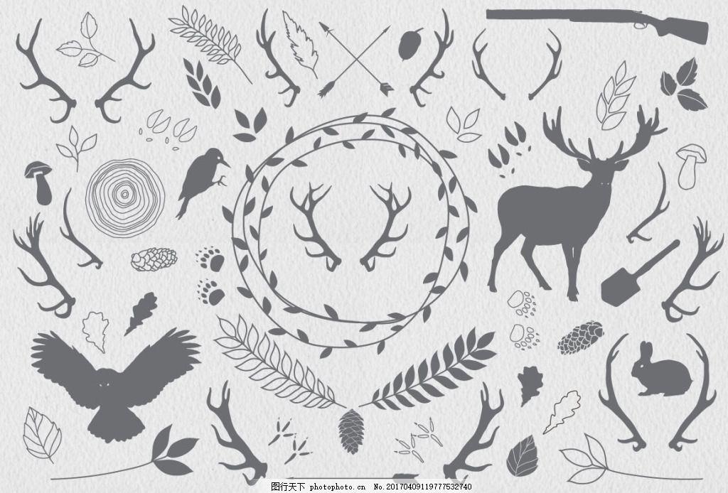 手绘森林动物插画