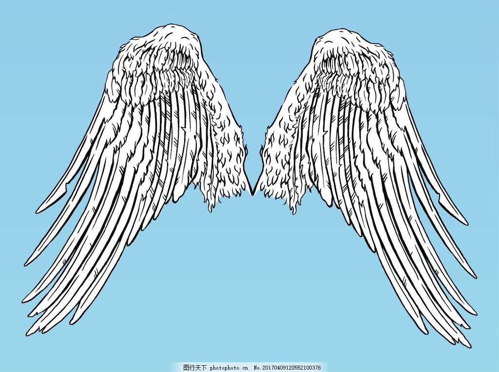 手绘翅膀素材 翅膀图标 翅膀 手绘翅膀 矢量翅膀 矢量素材 图标 扁平