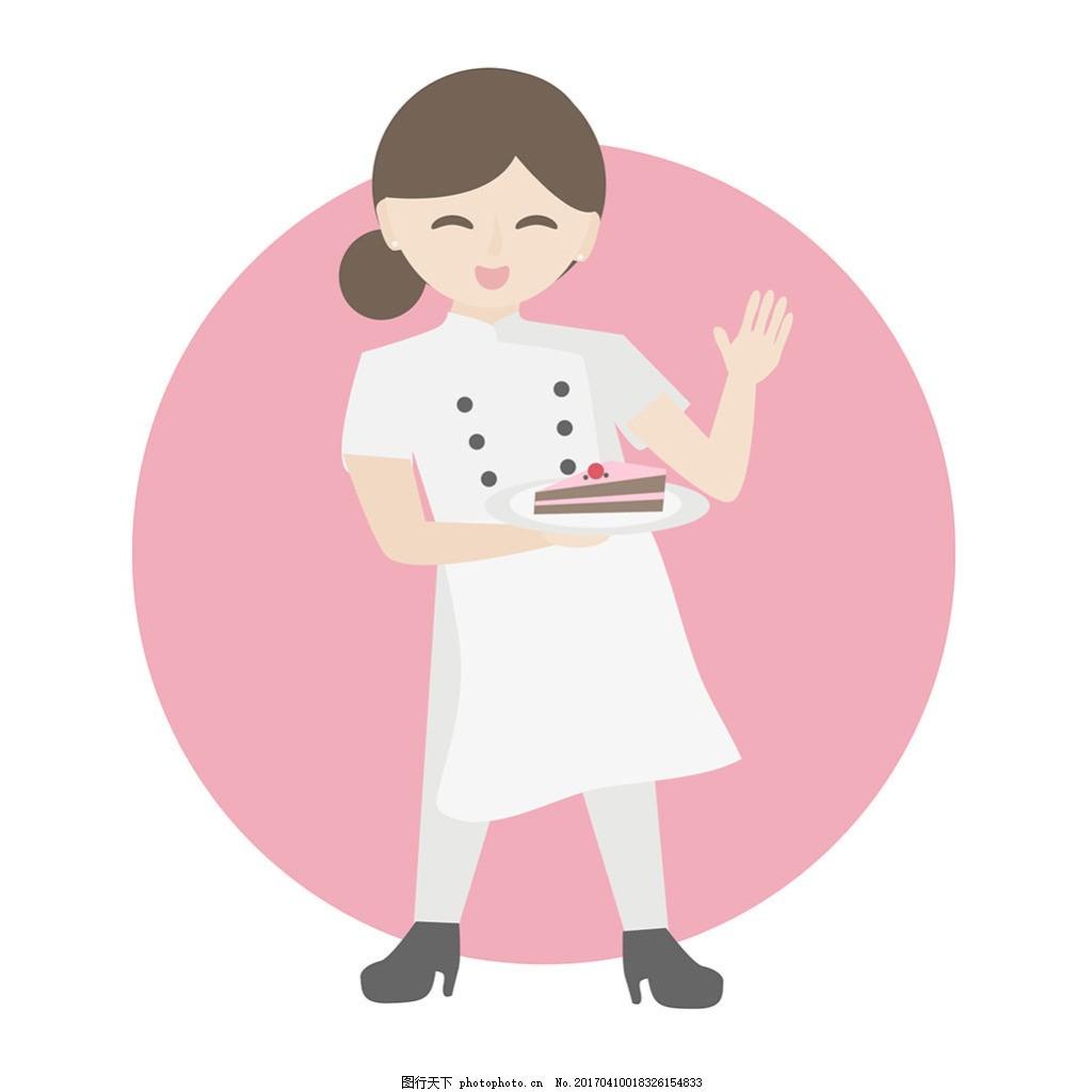 女厨师与蛋糕插图矢量素材