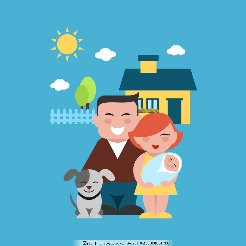 幸福的三口之家矢量素材 卡通 宝宝 狗狗图片
