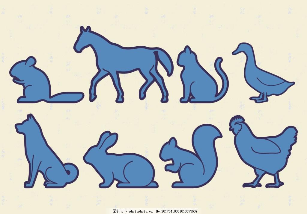 可爱动物剪影