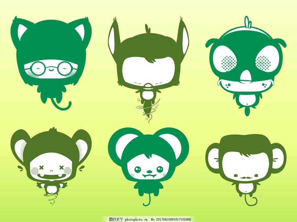 可爱卡通猴子 卡通动物 动物素材 动物 手绘动物 矢量素材 扁平动物