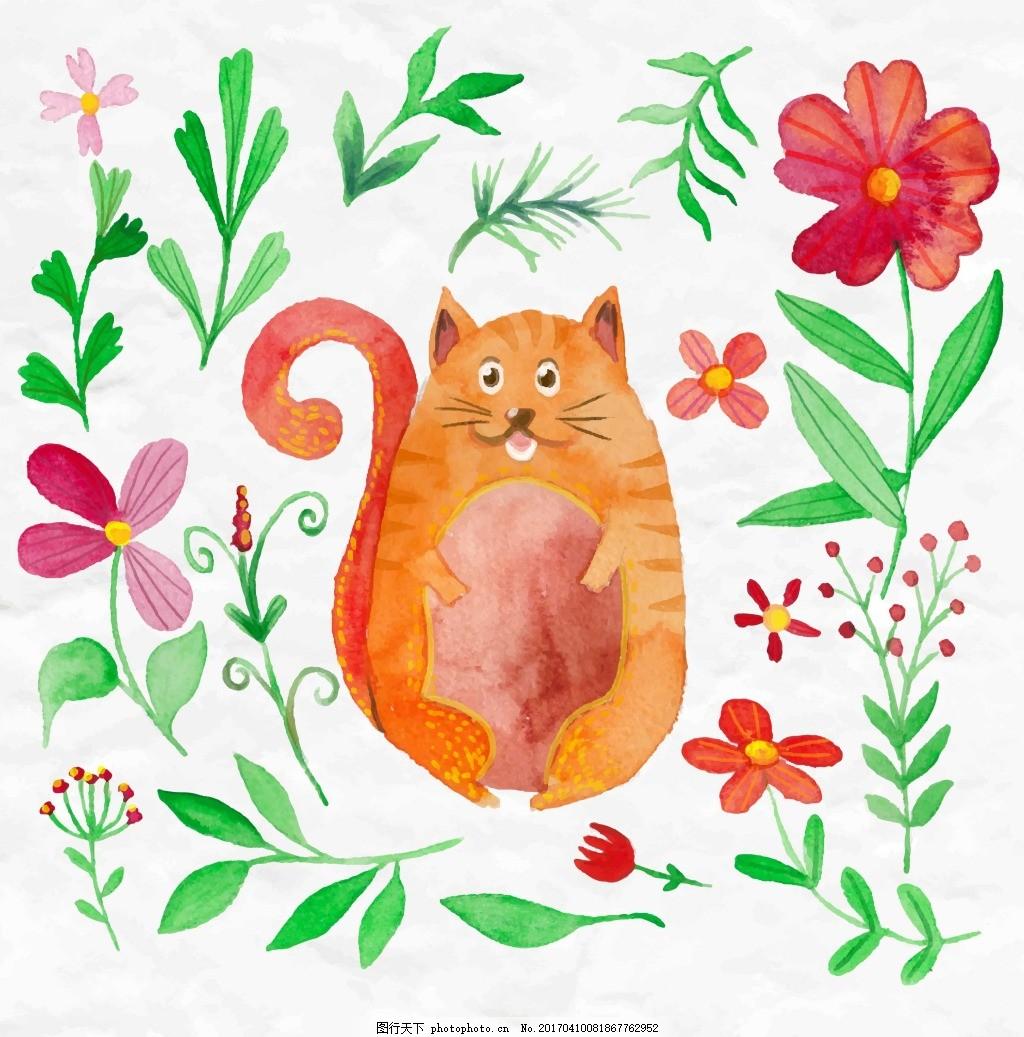 可爱的小猫,手绘 卡通 动物-图行天下图库