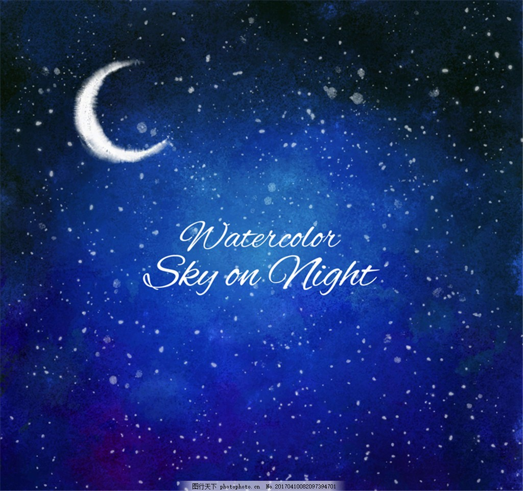 水彩绘蓝色夜空和月亮矢量素材 星星 风景 矢量图