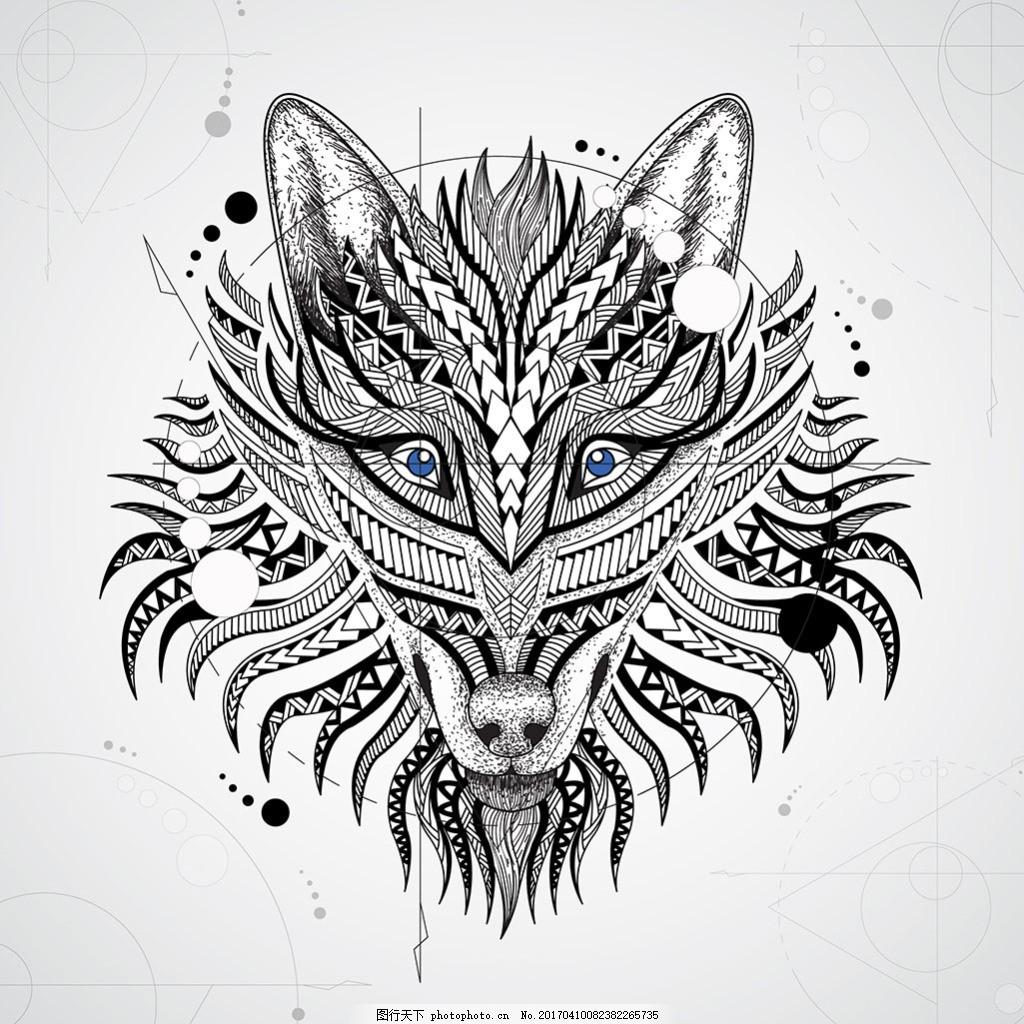 几何装饰图案狼头插画 几何装饰图案 狼头 插画 动物 线条 矢量素材