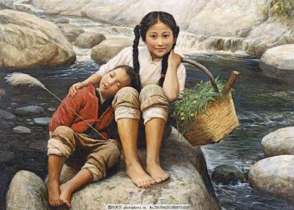 农村小孩油画