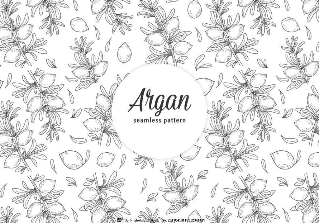 手绘摩洛哥坚果背景素材,手绘植物 矢量素材 手绘叶子