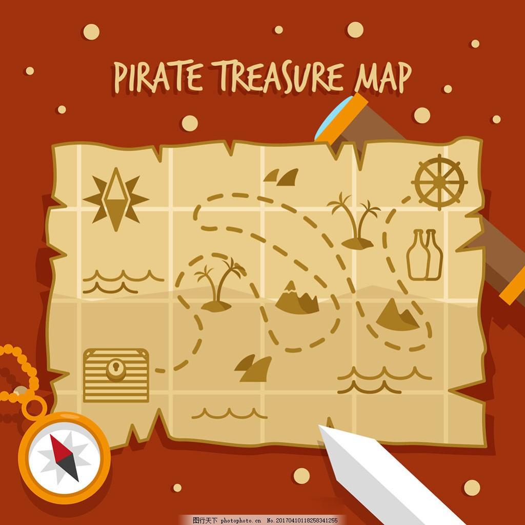 扁平风格海盗宝藏地图背景
