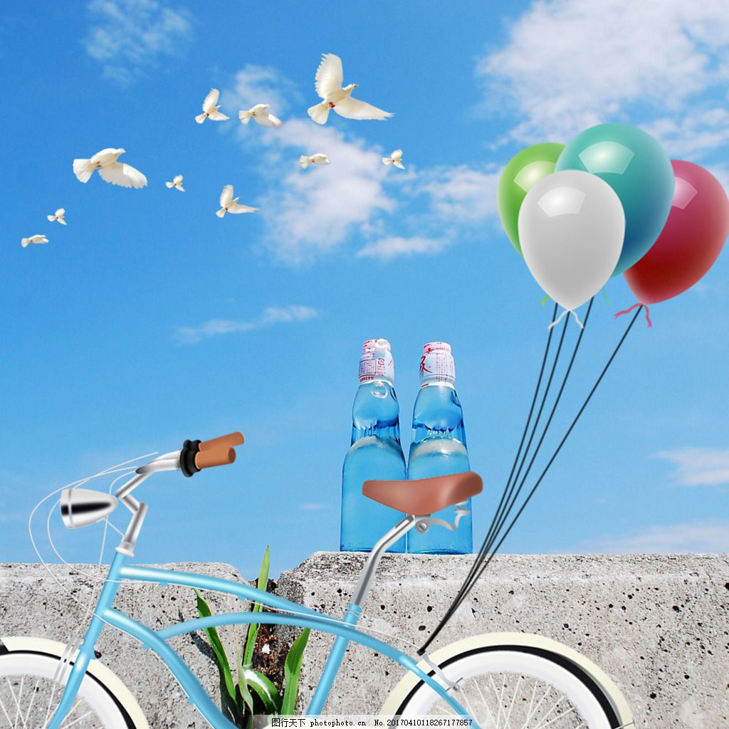 蓝天白云鸽子自行车气球素材