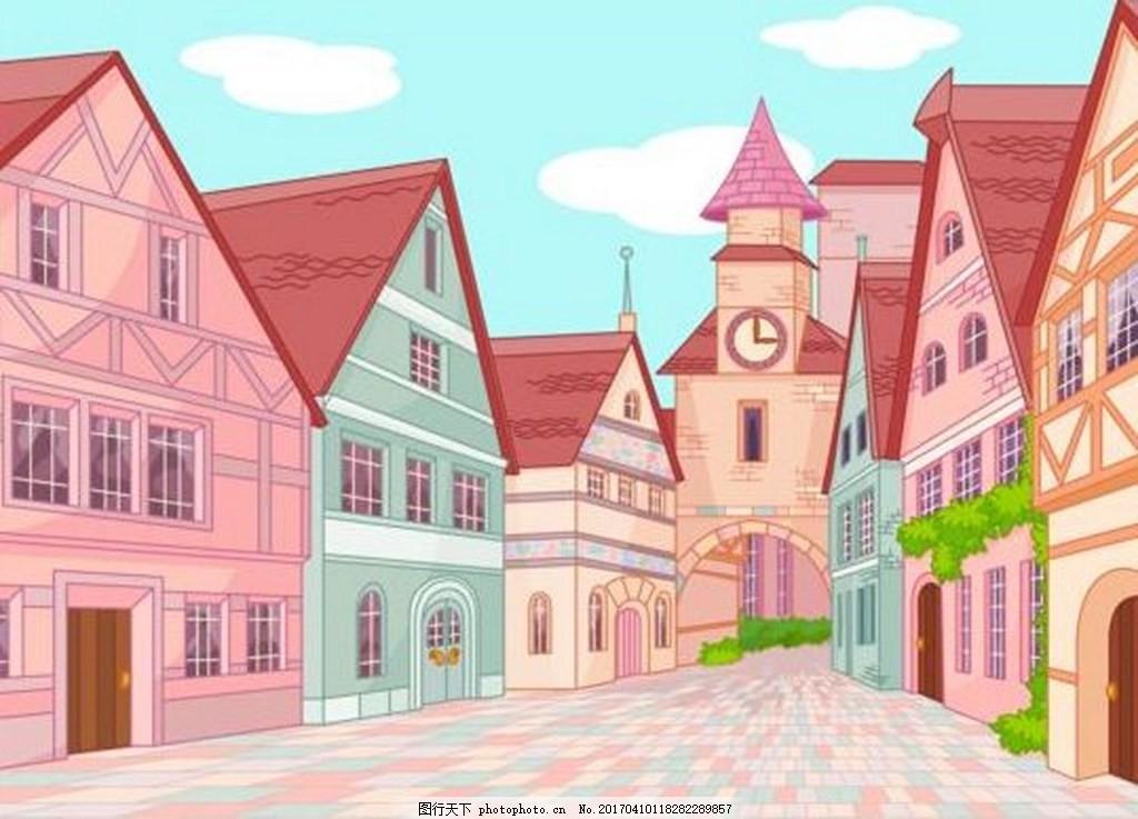 手绘房子背景素材
