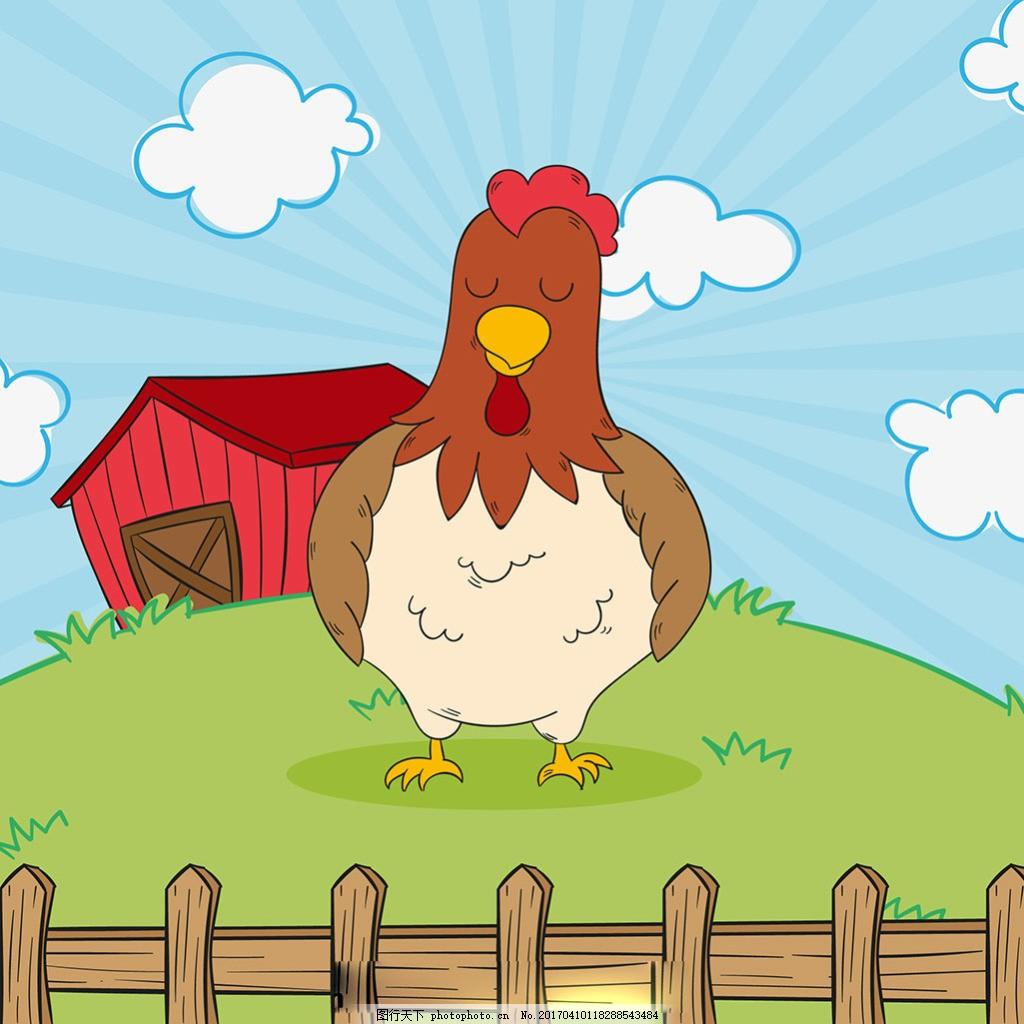 可爱的手绘母鸡农场背景