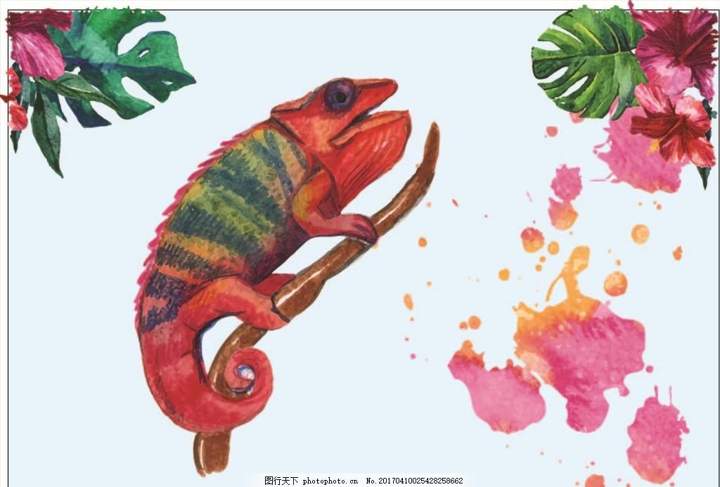 水彩画 热带动物 热带鹦鹉
