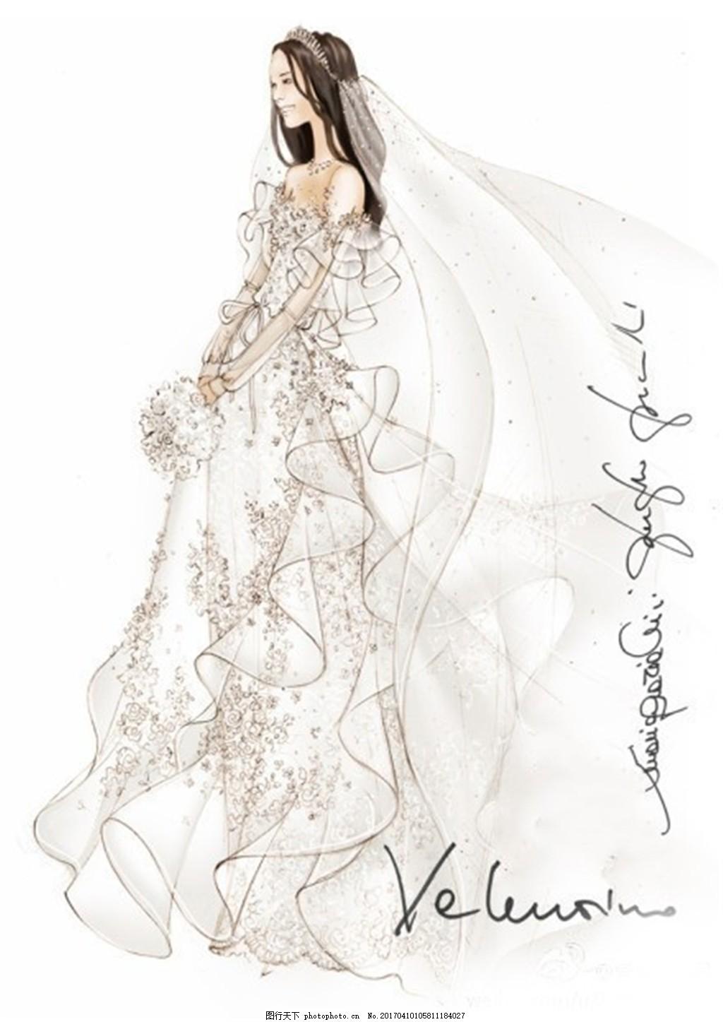 碎花婚纱长裙设计图
