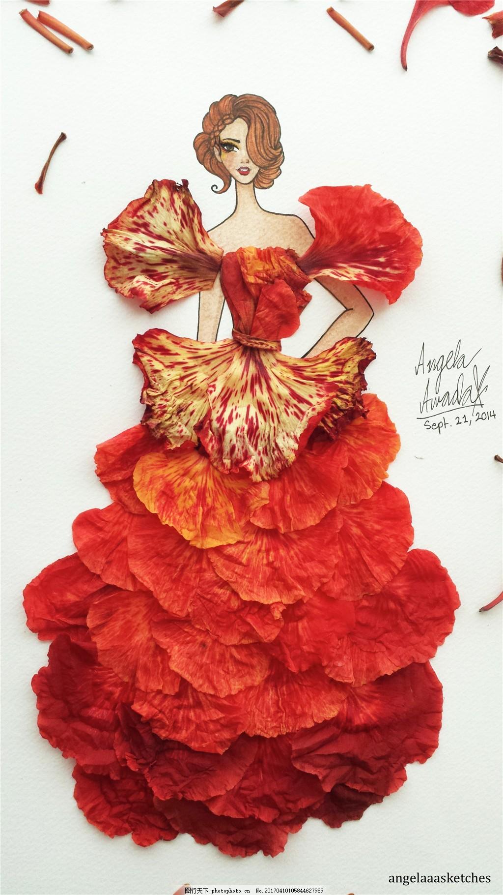 橙色花瓣灵感礼服设计图 时尚女装 女装设计效果图 短裙 衬衫 服装