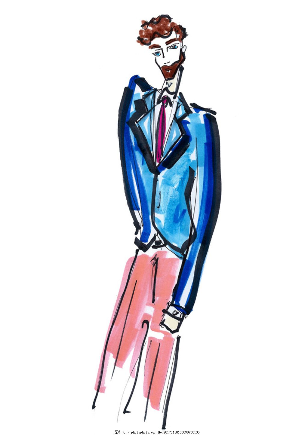 西服红西裤设计图 服装设计 时尚男装 职业男装 职业装 男装设计效果