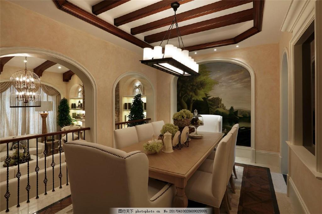 美式豪华餐厅设计图 家居 家居生活 室内设计 装修 室内 家具 装修