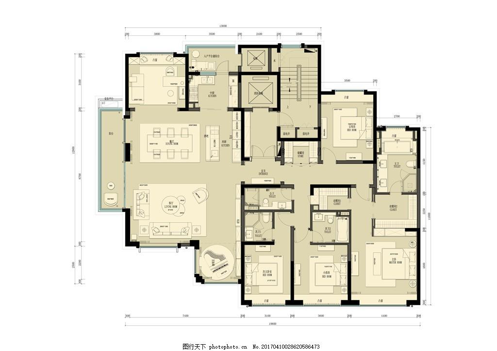 别墅装修平面图 室内设计 家装效果图 装修效果图 时尚 奢华 设计素材