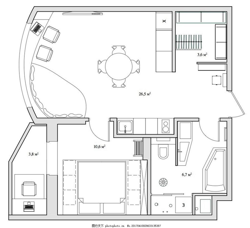 北欧简约装修设计手稿图 家居 家居生活 室内设计 家具图片