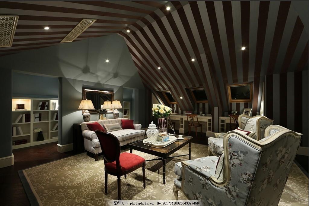 美式创意客厅设计图图片