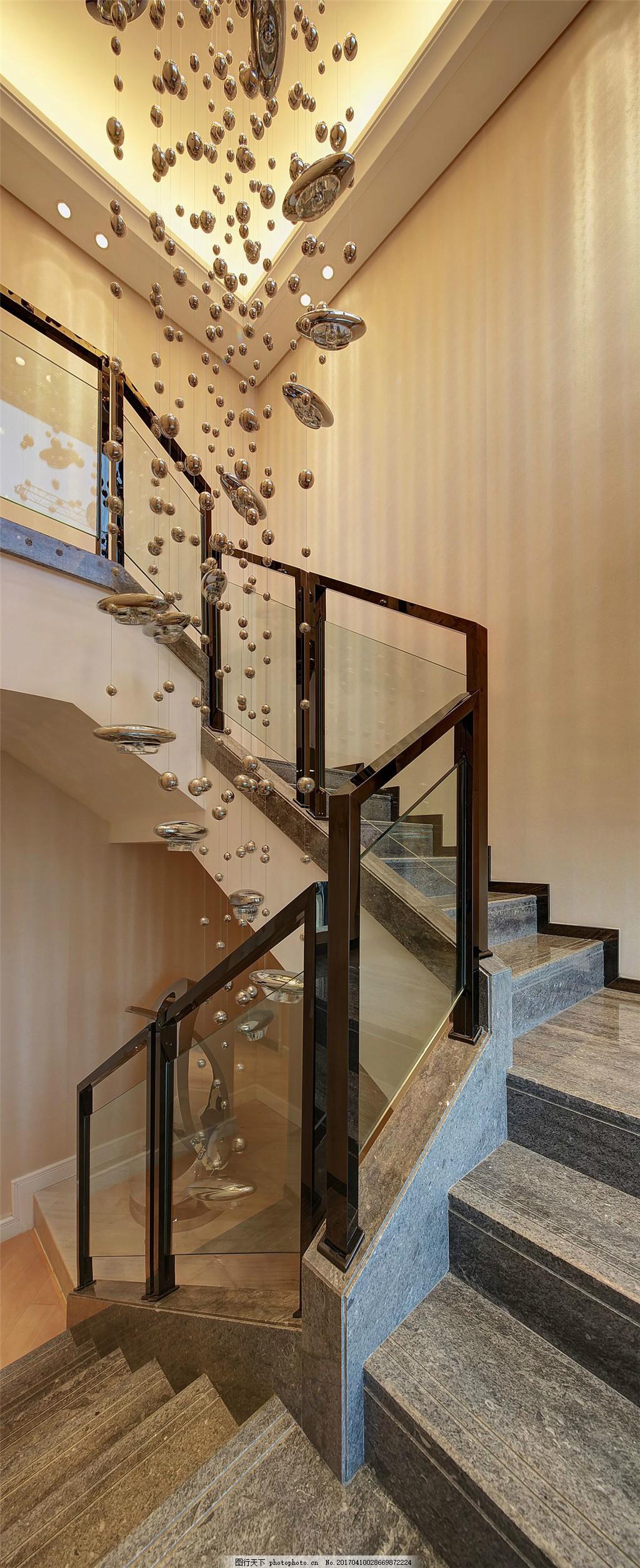 现代别墅楼梯间装修效果图 室内设计 家装效果图 美式装修效果图 时尚