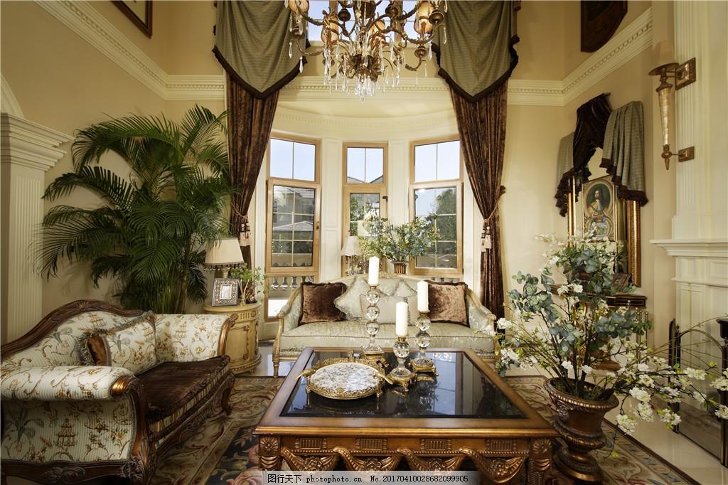 欧式 豪华 室内设计 家装效果图 绿树装饰 3d效果图 窗户 窗帘 黑色桌图片