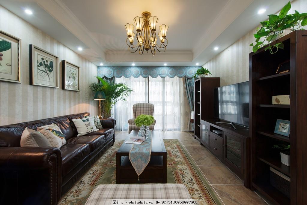 美式时尚客厅沙发落地窗设计图